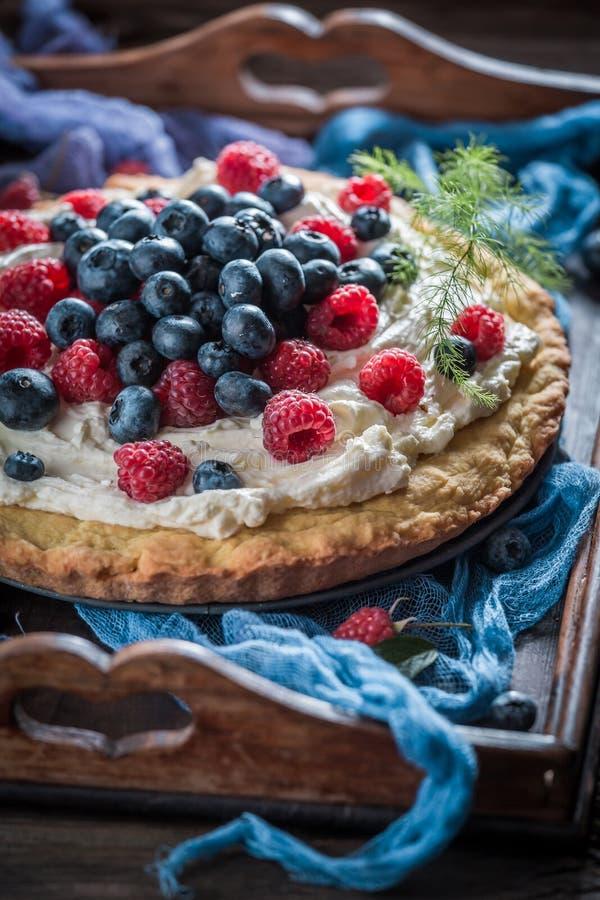 Крупный план сладостного пирога сделанный mascarpone и ягод стоковая фотография rf