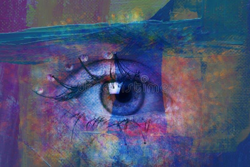 Крупный план фото глаза женщины составного стоковое фото rf