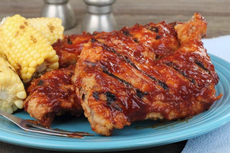 Крупный план цыпленка барбекю стоковое изображение