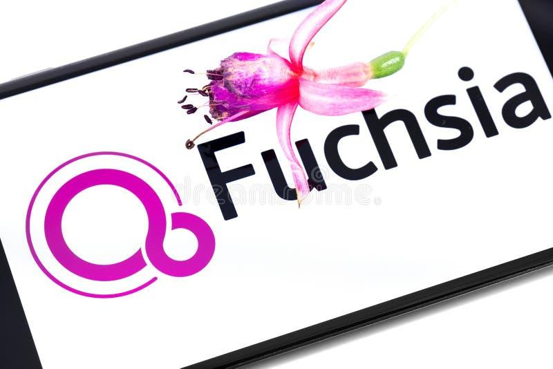 Крупный план экрана smartphone с логотипом, значком и f Google Fuchsia стоковое фото rf