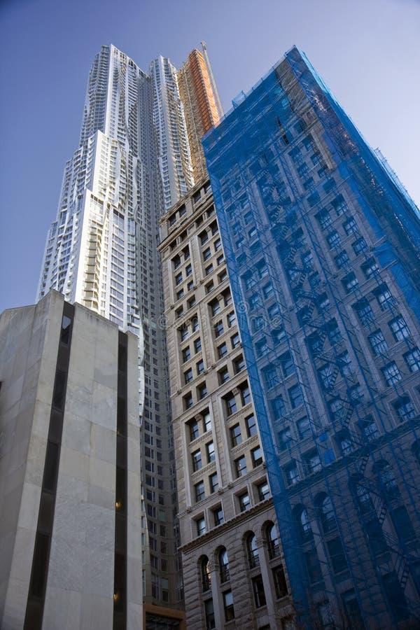 крупный план manhattan зданий стоковое изображение rf