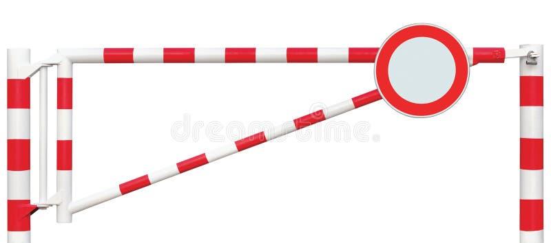 Крупный план барьера отстробированной дороги, вокруг никакого знака кораблей, бар строба проезжей части в яркие белом и красный,  стоковое фото rf