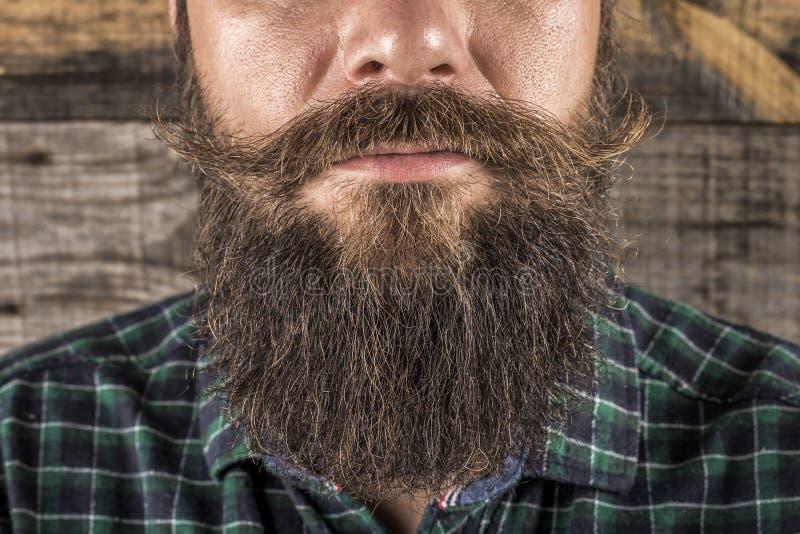 Крупный план бороды человека и усик над деревянной предпосылкой стоковые изображения rf