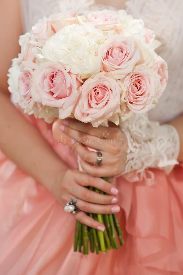 Крупный план букета свадьбы стоковая фотография rf