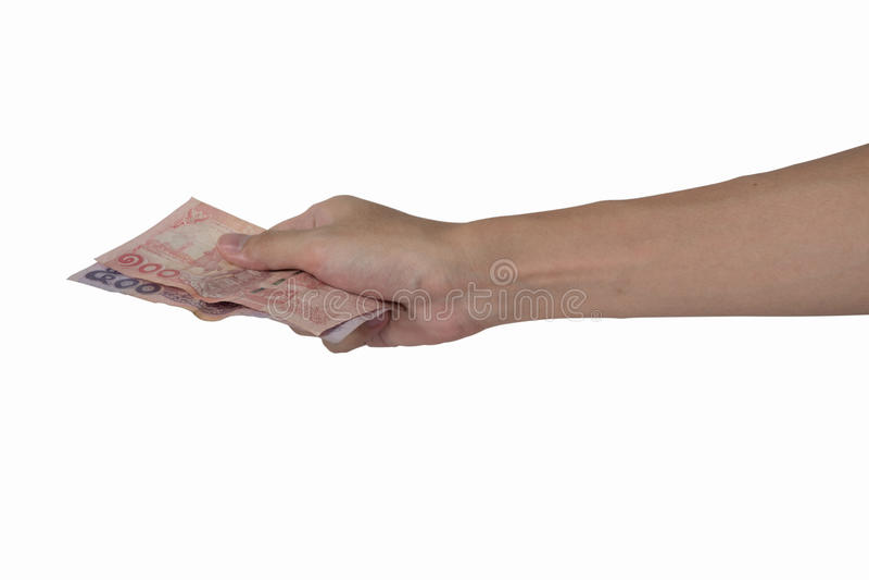Крупный план вручает давать тайские деньги изолированные на белой предпосылке, tr стоковое изображение rf