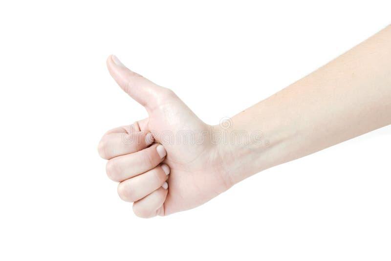 Крупный план женской руки показывая большие пальцы руки поднимает знак против белизны назад стоковые фотографии rf