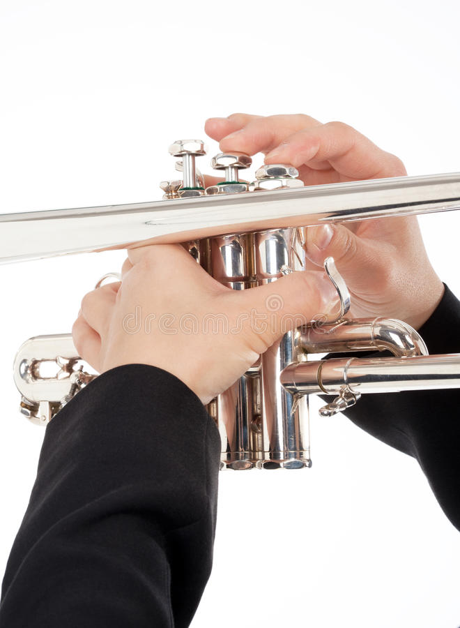 Крупный план играть трубача стоковая фотография rf
