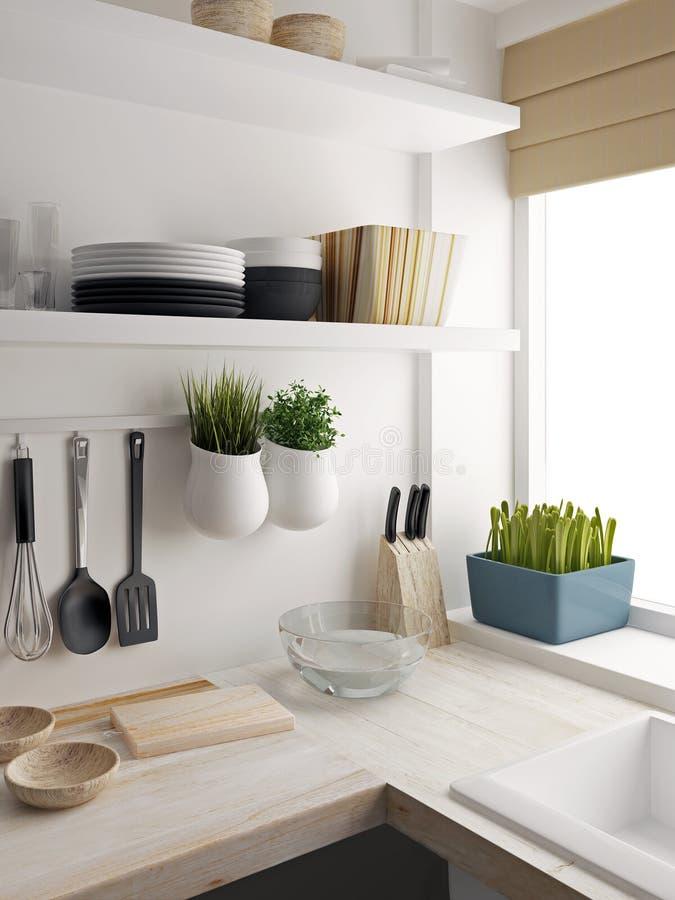 Крупный план дизайна комнаты кухни бесплатная иллюстрация