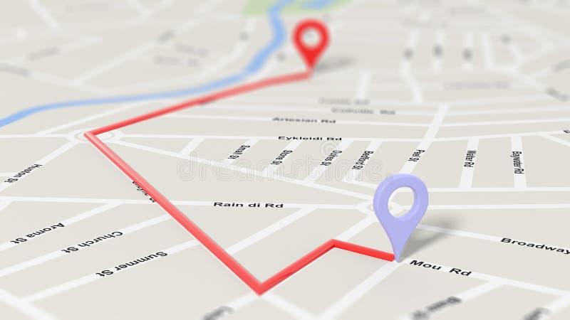 Крупный план карты с 2 указателями установил на трассу иллюстрация штока