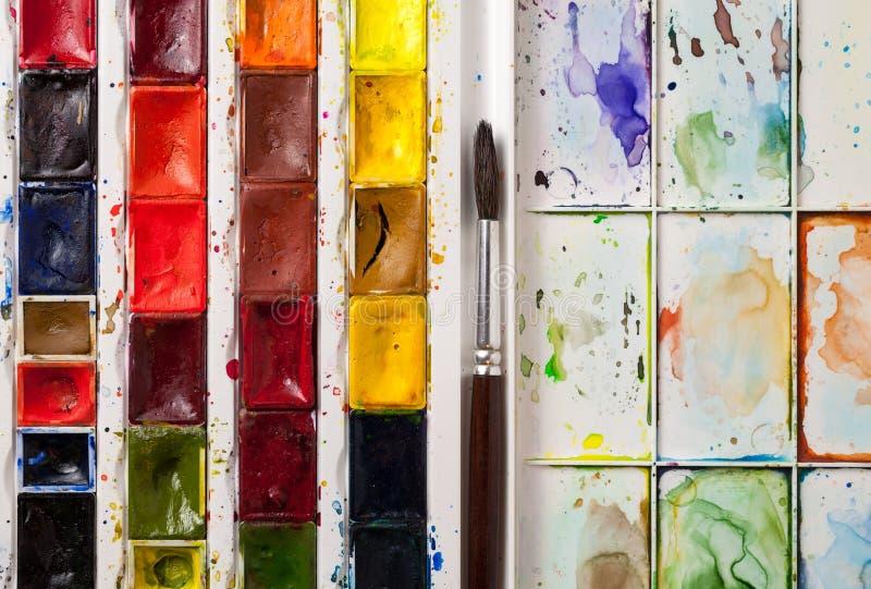 Крупный план красок акварели стоковые фото