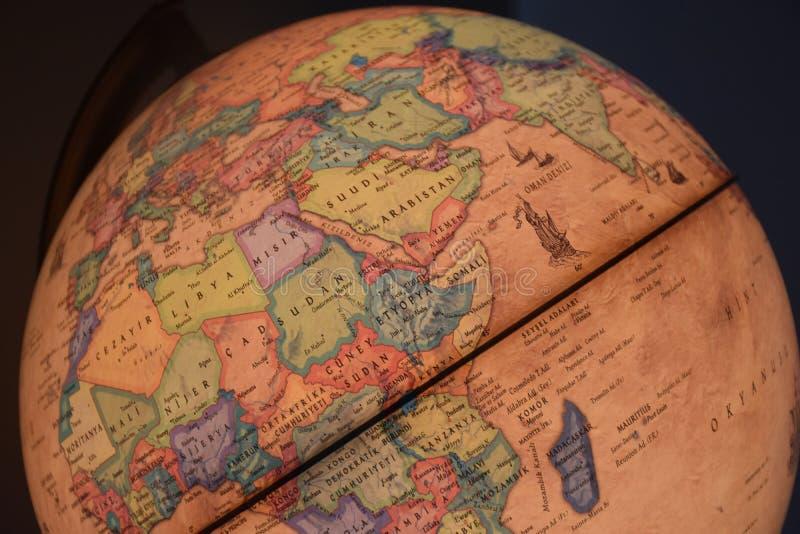 Крупный план на глобусе стоковая фотография rf