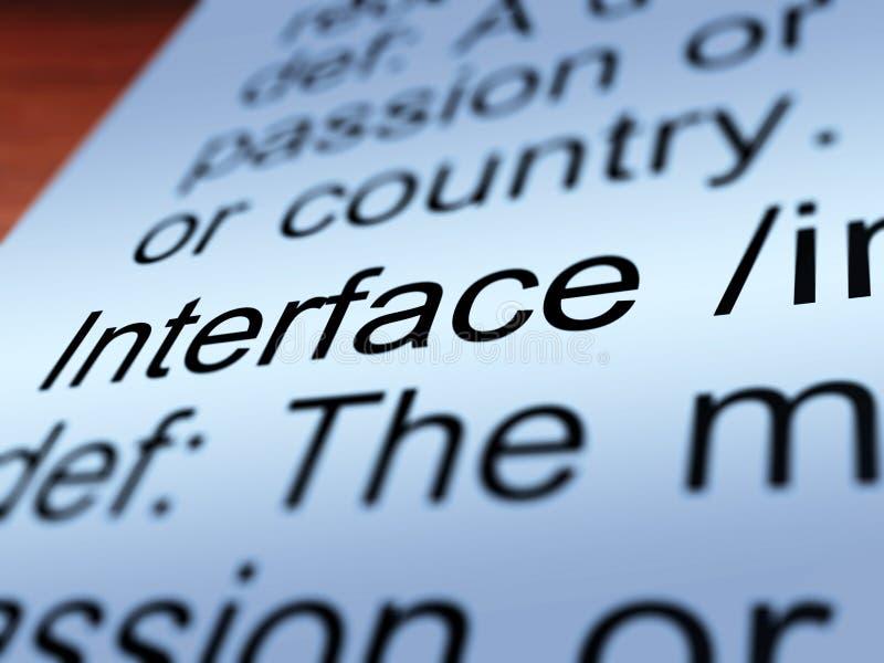 Крупный план определения интерфейса показывая соединение иллюстрация штока