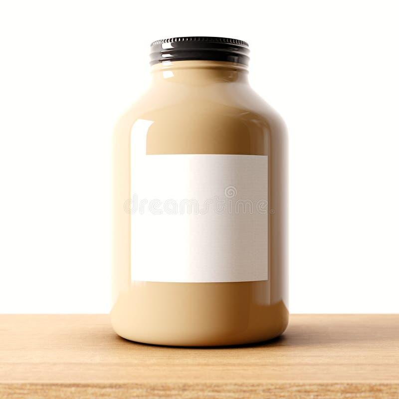 Крупный план одного опарника пустого коричневого цвета стеклянного на деревянном столе и белой предпосылке стены Пустой стекловид иллюстрация штока