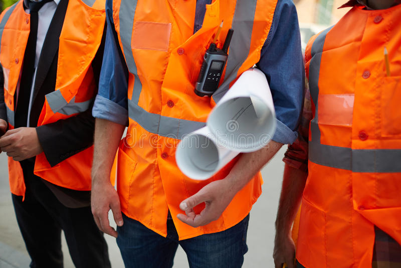 Крупный план рабочих классов с светокопиями стоковые изображения rf
