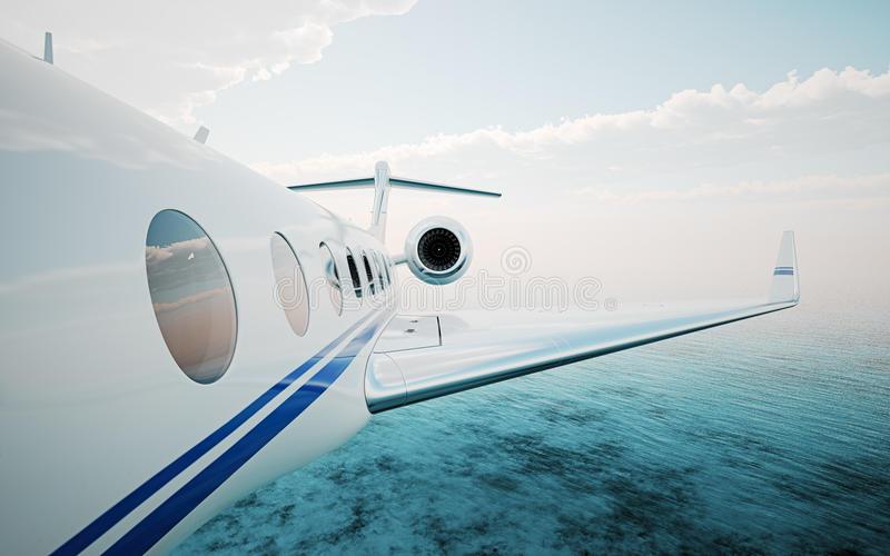 Крупный план реалистической белизны фото, роскошный родовой частный самолет дизайна летая над океаном Современные самолет и облак стоковые изображения