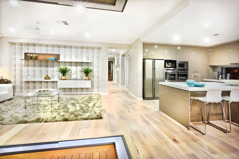 Крупный план современной кухни и живущей комнаты стоковое изображение rf