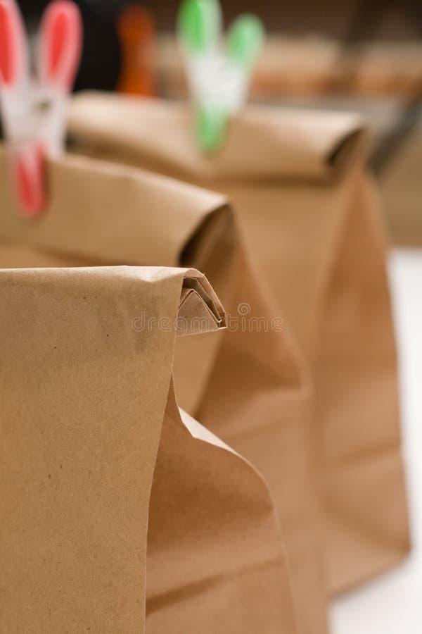 Крупный план состава бумажных сумок стоковое изображение