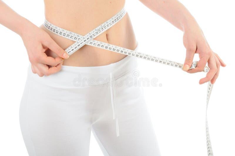 Download Крупный план талии молодой женщины измеряя, изолированный на белизне Стоковое Фото - изображение насчитывающей люди, тренировка: 40585614