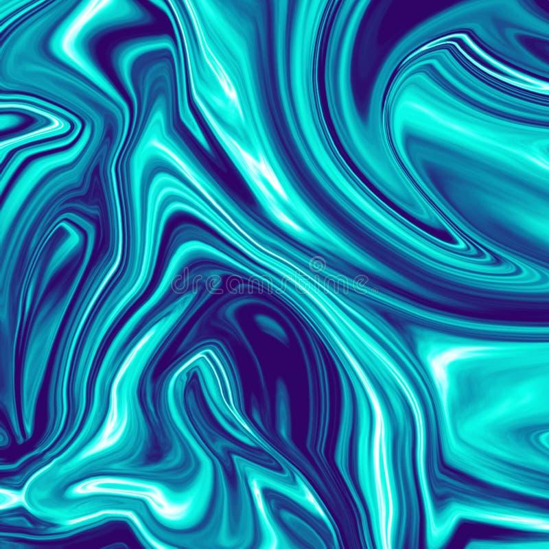 Крутая темно-синая хроматичная жидкостная мраморная иллюстрация иллюстрация штока