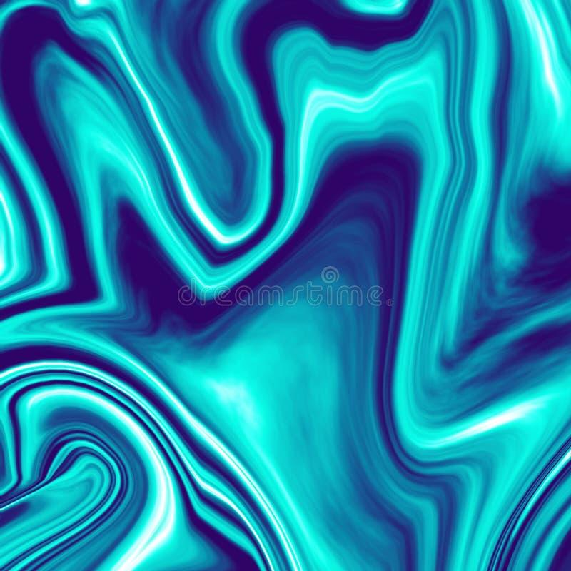 Крутая темно-синая хроматичная жидкостная мраморная иллюстрация иллюстрация вектора
