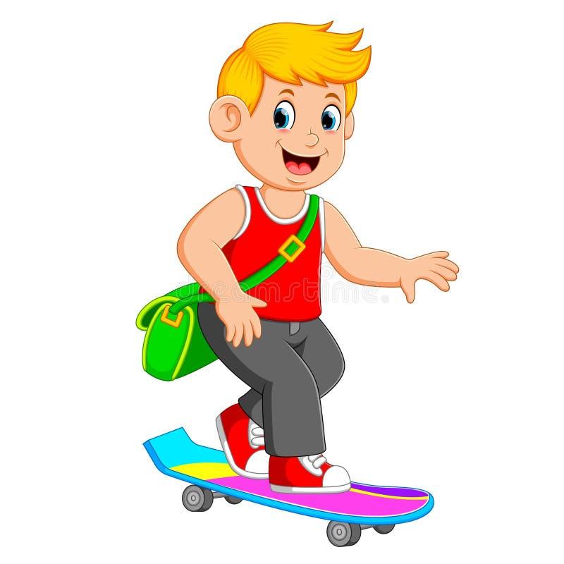 Крутой мальчик использует зеленую сумку и играет доску конька бесплатная иллюстрация