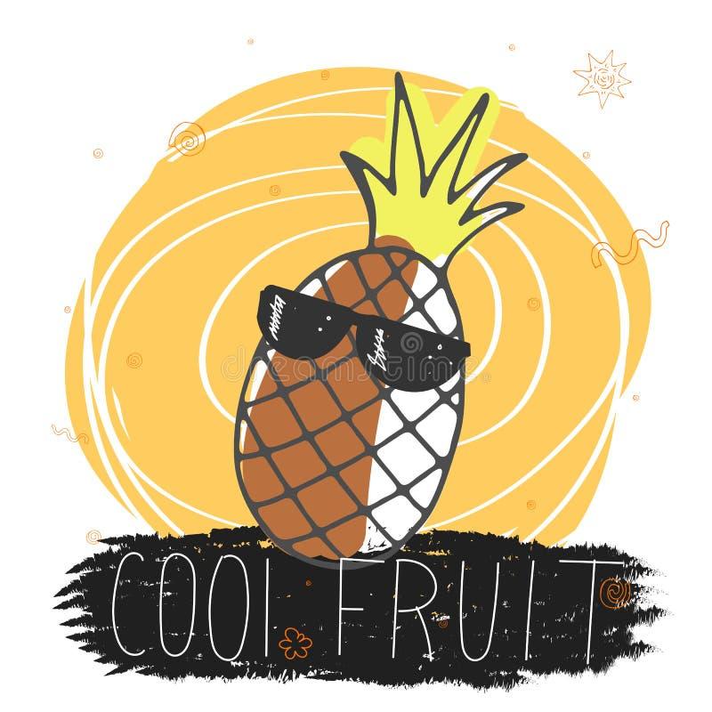 Крутой плод Смешная сезонная иллюстрация лета с ананасом мультфильма в стеклах, надписи и декоративных элементах r бесплатная иллюстрация