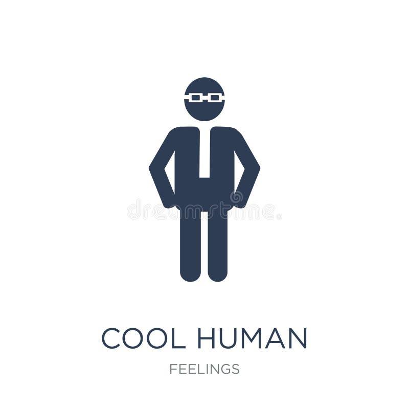 крутой человеческий значок Значок ультрамодного плоского вектора крутой человеческий на белом bac бесплатная иллюстрация