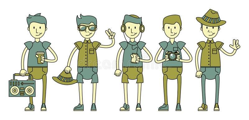 Крутые характеры парней хипстера бесплатная иллюстрация