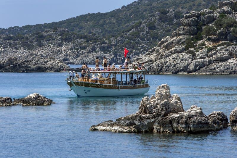 Крылатая лодка в Средиземном море у Турции стоковая фотография