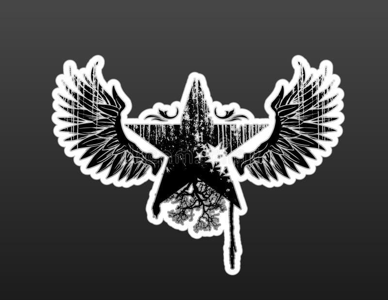 крыла звезды grunge иллюстрация вектора