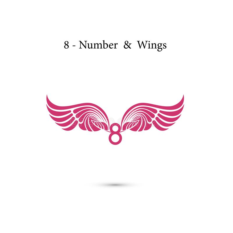 крыла знака 8-number & ангела Элегантные письма и крыла алфавита C бесплатная иллюстрация