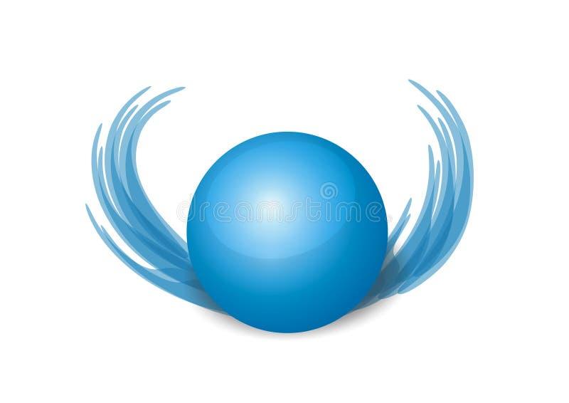 крыла сини шарика 3d стоковые фотографии rf