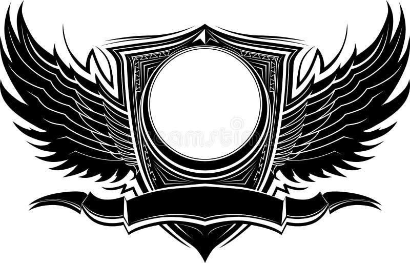 крыла шаблона знамени значка богато украшенный иллюстрация вектора