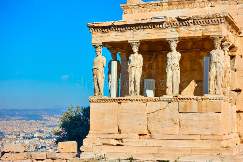 крылечко Греции caryatids atheens акрополя стоковое фото