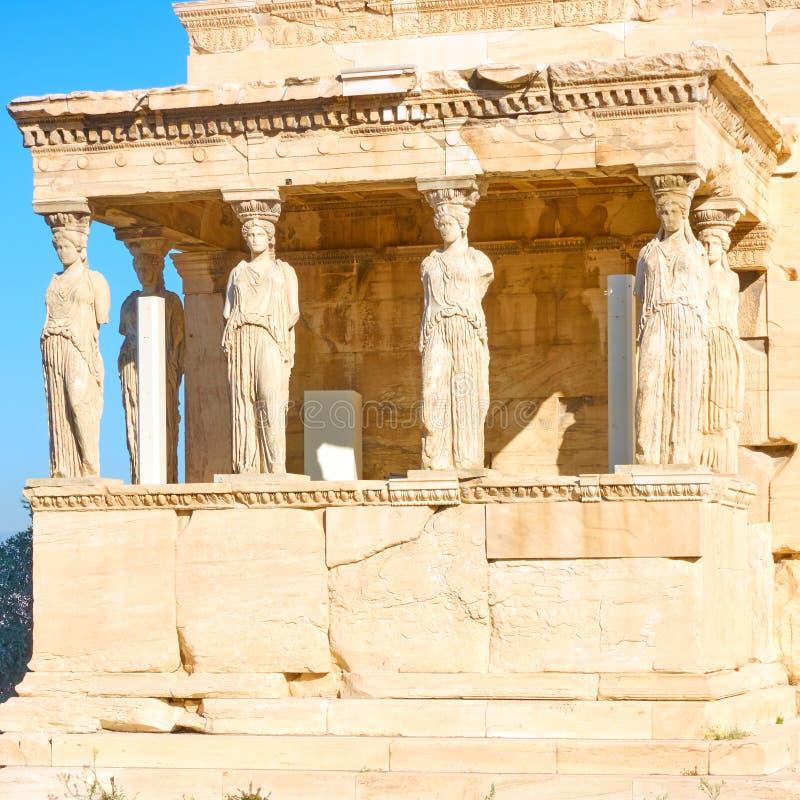 крылечко Греции caryatids atheens акрополя стоковые фото
