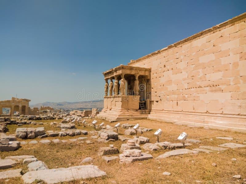 крылечко Греции caryatids atheens акрополя стоковая фотография