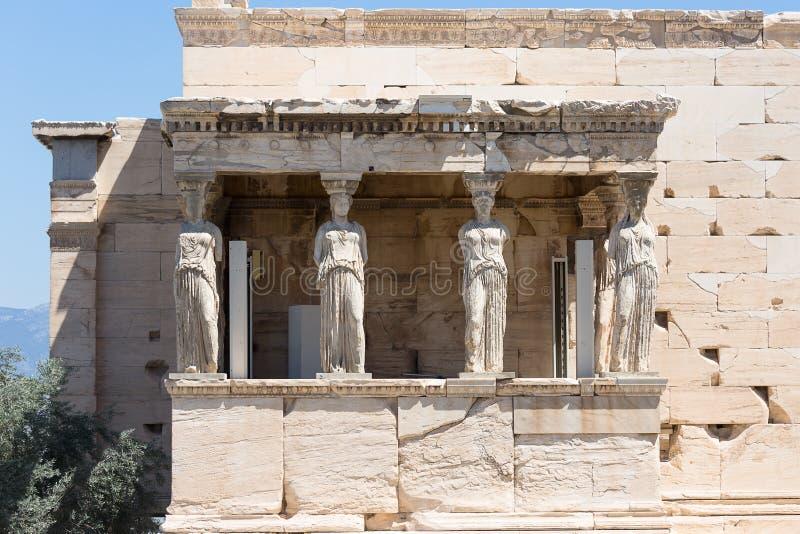 Крылечко кариатид, Erechtheum, акрополь Афин, стоковые фото