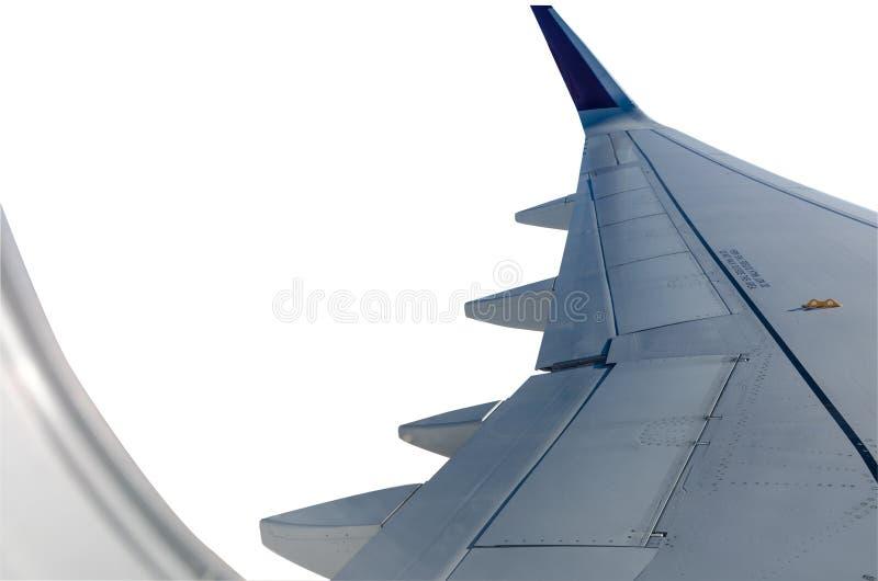 Крыло воздушных судн, взгляд через окно самолета o стоковые изображения rf