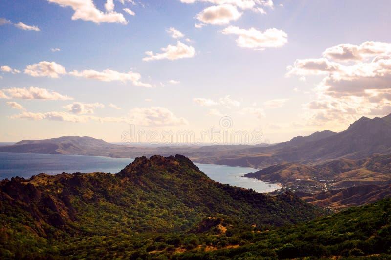 Крымское побережье - гора и море стоковое фото rf