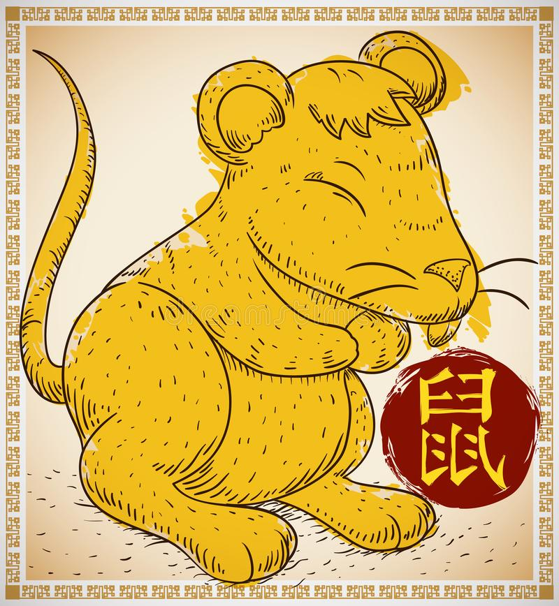 Крыса в нарисованной руке и стиле Brushstroke для китайского зодиака, иллюстрации вектора бесплатная иллюстрация