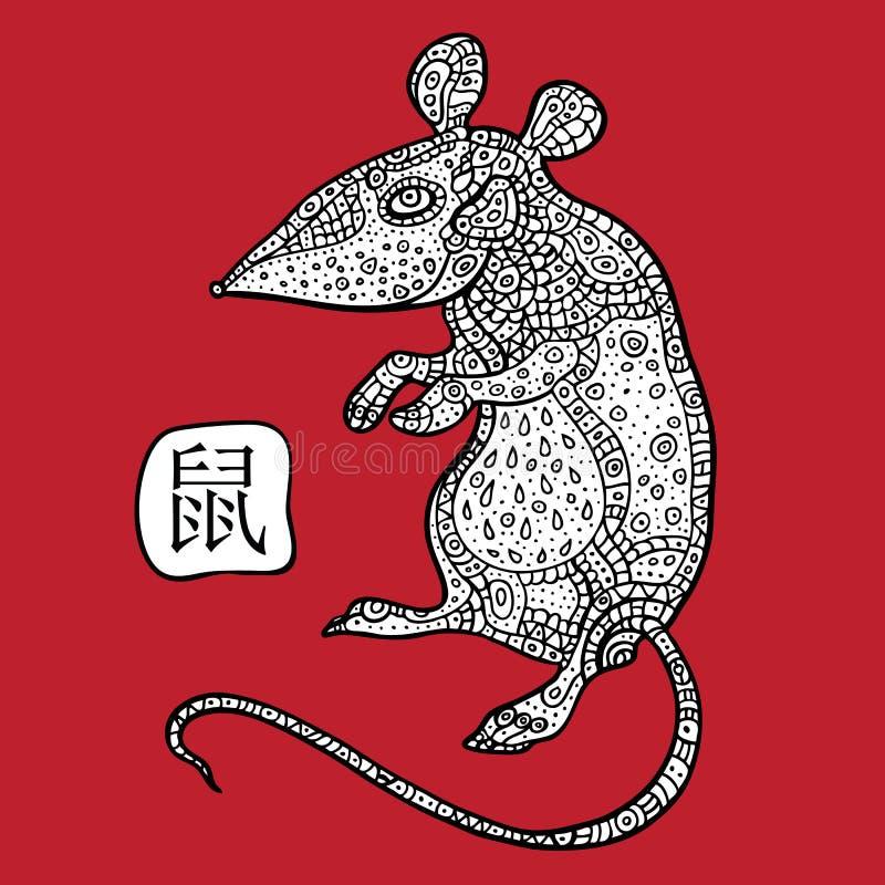 Крыса. Китайский зодиак. Животный астрологический знак. иллюстрация штока