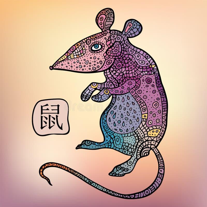 крыса китайский зодиак Животный астрологический знак иллюстрация вектора