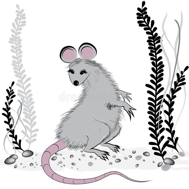 Крыса, мышь как символ на год 2020 китайским традиционным гороскопом с травой бесплатная иллюстрация