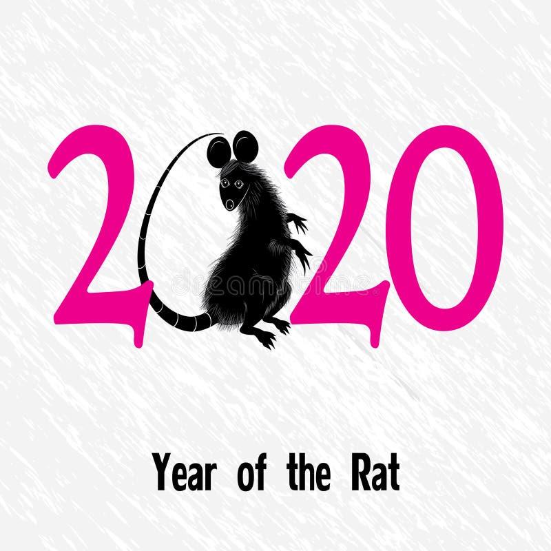 Крыса, мышь как символ на год 2020 китайским традиционным гороскопом с травой иллюстрация штока