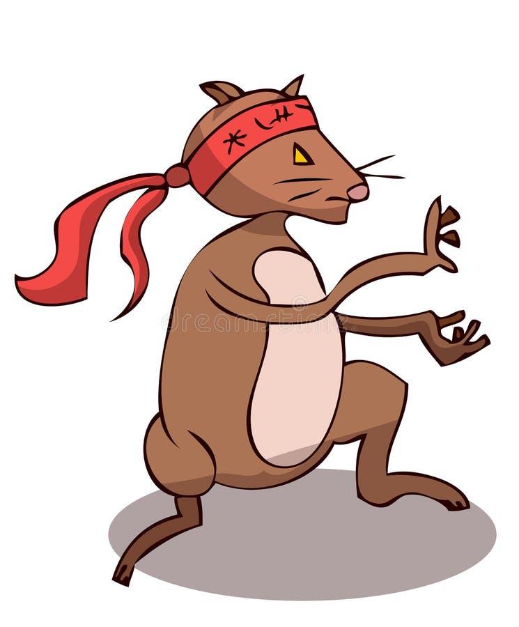 Крыса шаржа стилизованная делая боевые искусства иллюстрация штока