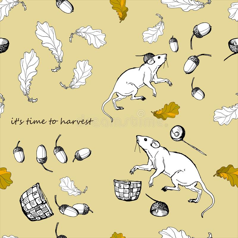 White mice, little white rats among the many oak leaves and acorns, the inscription ` it`s time to harvest` vector illustration
