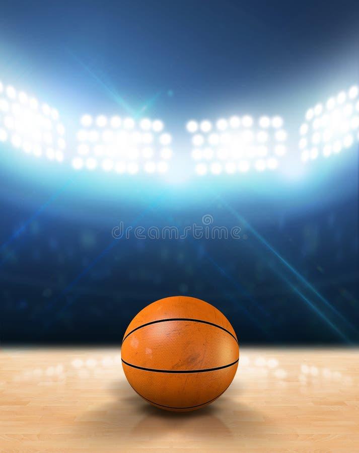 Крытая Floodlit баскетбольная площадка стоковая фотография