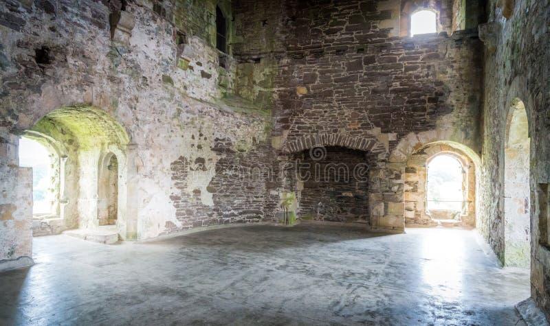 Крытое визирование в замке Doune, средневековой твердыне около деревни Doune, в районе Стерлинга центральной Шотландии стоковое фото rf