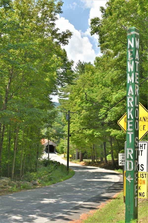 Крытый мост Ватерлоо, городок Warner, Merrimack County, Нью-Гэмпшир, Соединенных Штатов, Новой Англии стоковое изображение