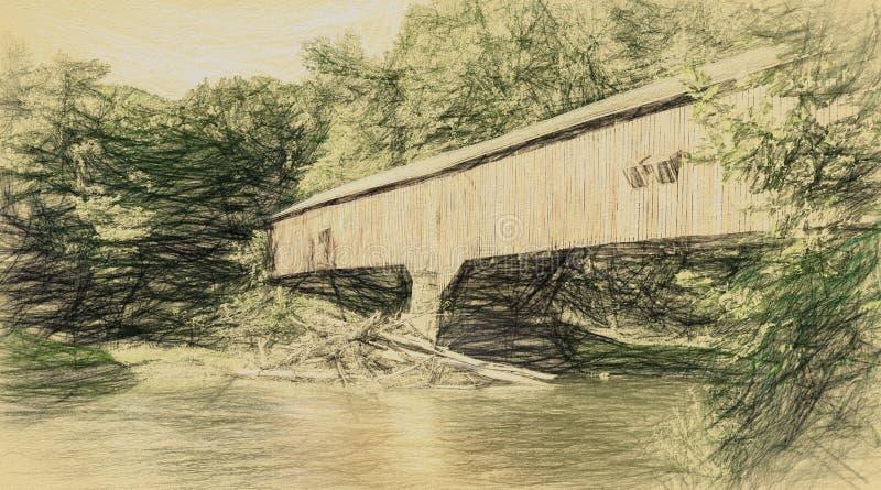Крытый мост в сельском районе в конспекте иллюстрация штока